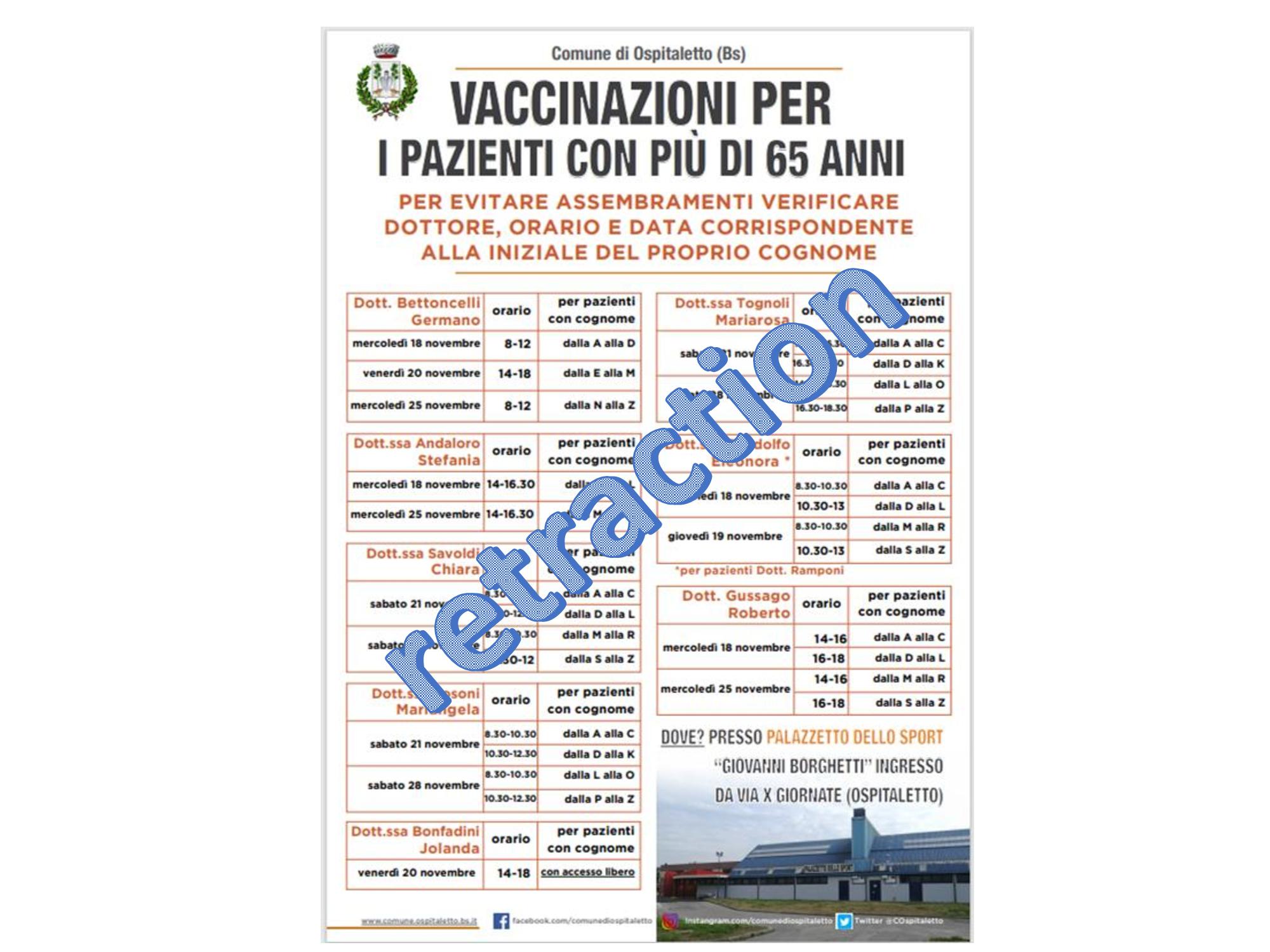 locandina del comune di ospitaletto per le vaccinazioni antinuenzali