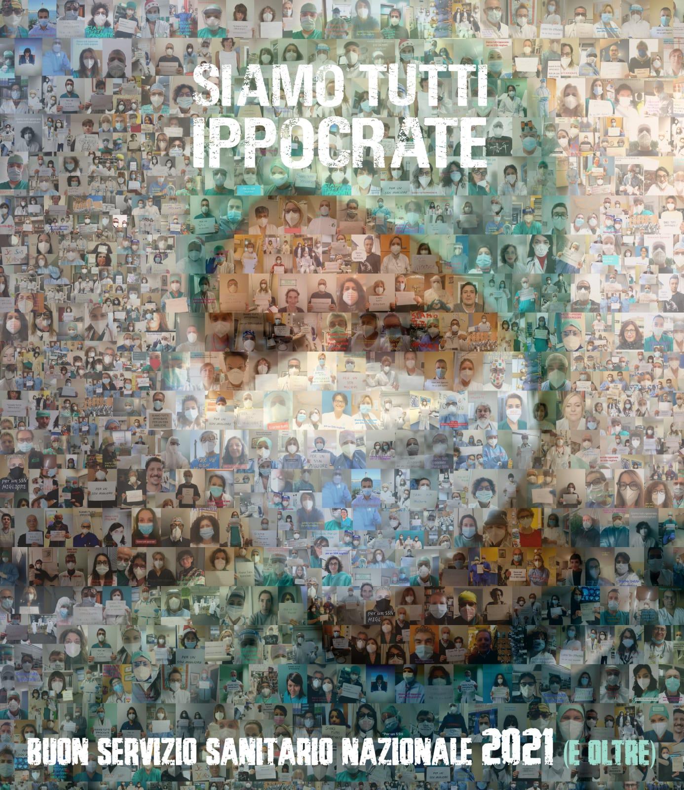 poster con i volti dei medici e degli operatori sanitari